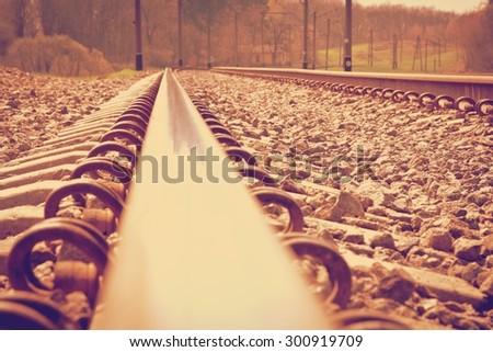 old railroad retro - stock photo