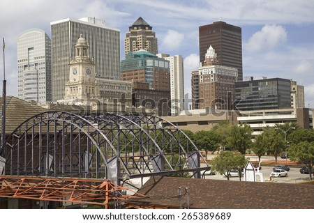 Old Railroad Station framing view of Des Moines skyline, capital of Iowa - stock photo