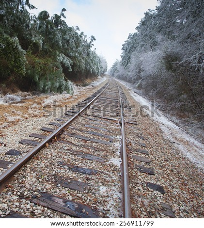 Old railroad tracks going through a forest with ice - stock photo