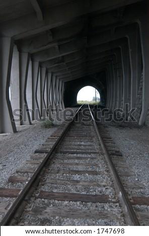 Old railroad tunnel of the Circum-Baikal Road, the historical part of Trans-Siberian railway, near Lake Baikal, Russia - stock photo