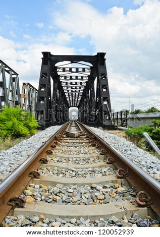 Old railway bridge - stock photo