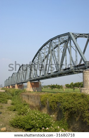old railway bridge built in 1913 - stock photo
