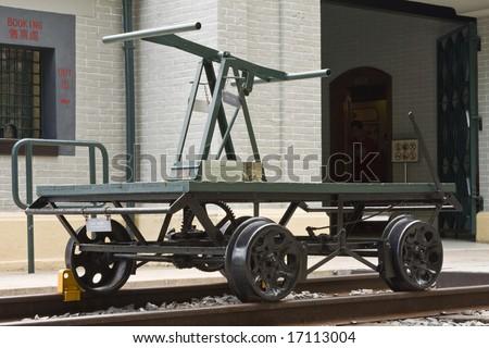 Old railway pump trolley - stock photo