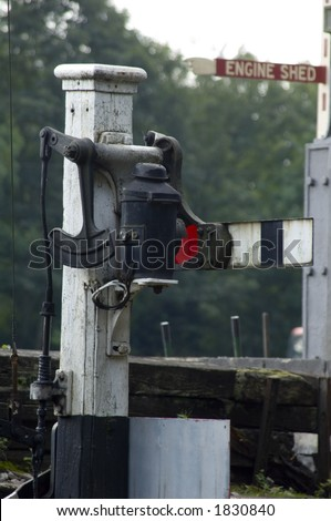 old railway signal during the age of steam trains - stock photo