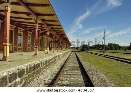 Old railway station in Haapsalu - stock photo