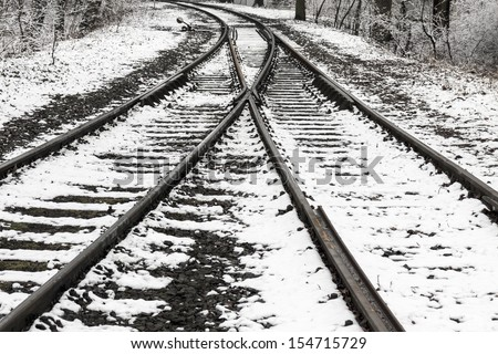 Old railway switch in the snow - stock photo