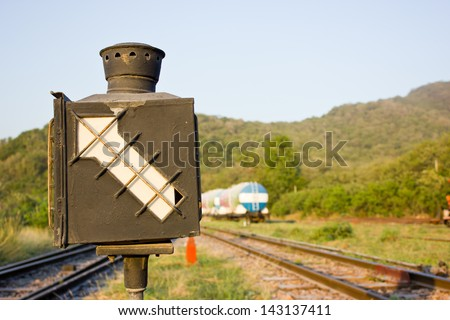 Old railway switching device - stock photo