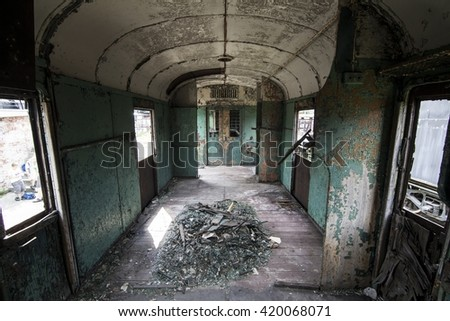 old railway wagon - stock photo