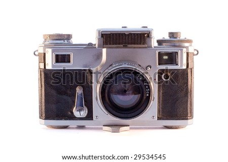 Old rangefinder photo camera with exponometer
