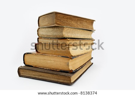Old rare books isolated on white