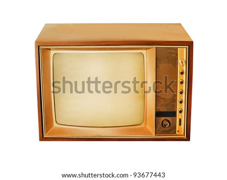 Old Rare Vintage Television with no brand and model isolated on white background - stock photo