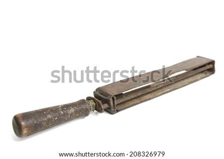 Old Razor Sharpener Isolated on White - stock photo