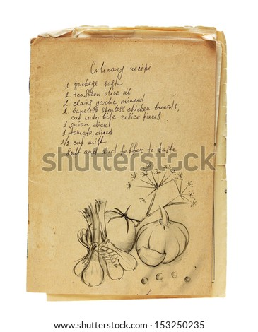 Old recipe book isolated on white background. - stock photo