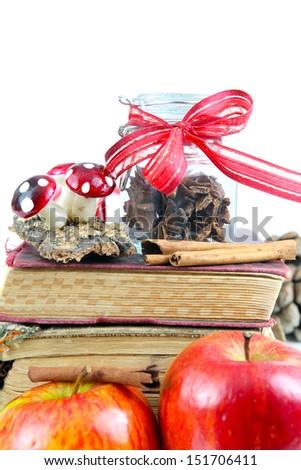 Old recipe books, Christmas treats - stock photo