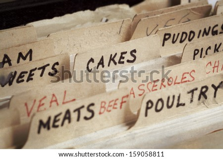 Old recipe box, with sections for cakes, meats, etc.   - stock photo