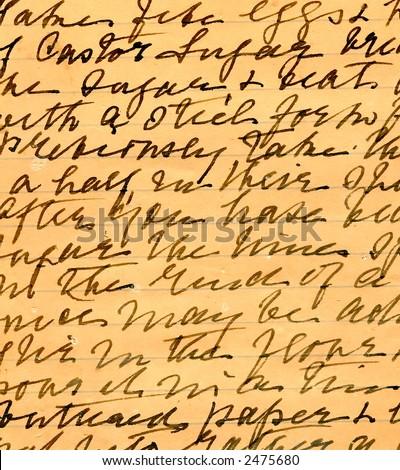 Old recipe handwriting detail - stock photo