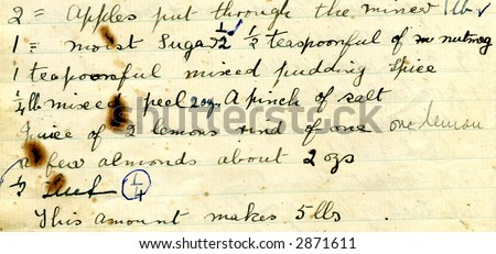 Old recipe handwriting detail with cooking stains - stock photo