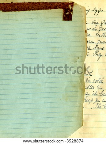 Old recipe handwriting lined paper - stock photo