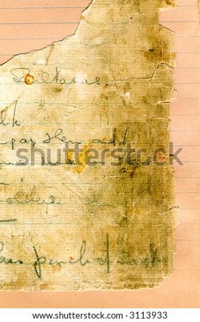Old recipe handwriting scrap of paper - stock photo