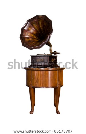 old record player over wood table on white background. Retro image - stock photo