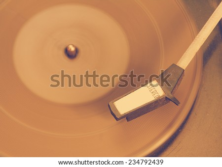 Old record-player, retro film filtered, instagram style  - stock photo