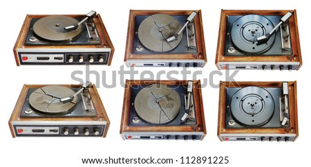old record-player set isolated on white background - stock photo