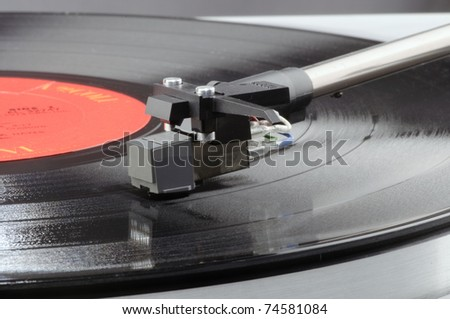 Old record player with LP