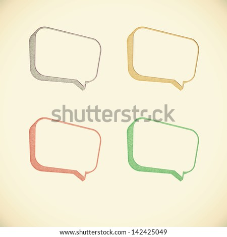 Old recycled paper talk tag 3D - stock photo