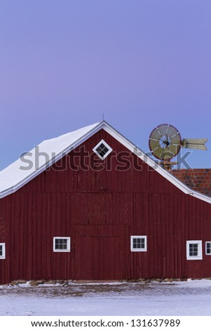 Old Red Barn at the 17mile House Farm Park, Colorado. - stock photo