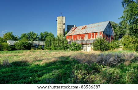 Old red barn nearly overrun with growing grasses and bushes - stock photo