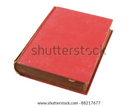Old red book isolated over white with clipping path - stock photo