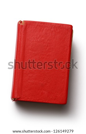 Old red book on white background - stock photo