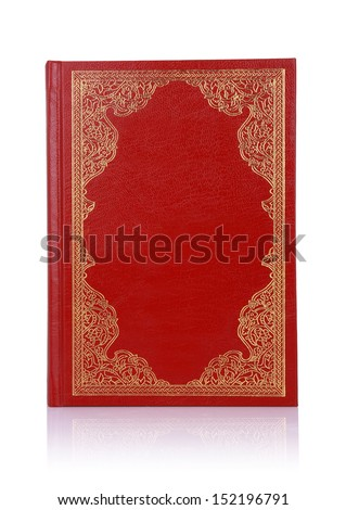 Old red book with gold color ornament on cover isolated on white. There is no copyrighted elements. - stock photo