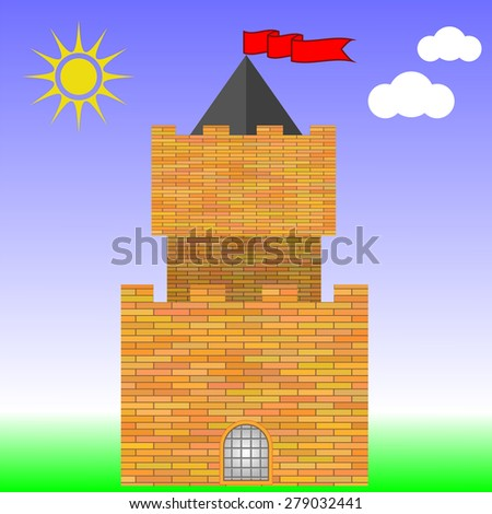 Old Red Brick Castle on Blue Sky Background