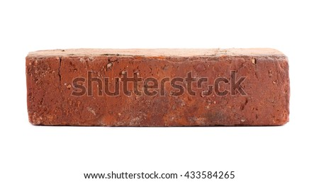 Old Red Brick Isolated On White Background