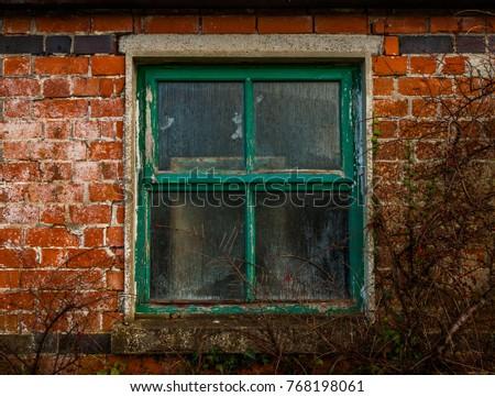 Old Historic Stone Cottage Door Window Stock Photo