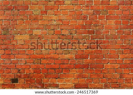 Old Red Brick Wall Background with Plenty of Copy Space - stock photo