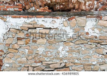 Old red brick wall bracket for background - stock photo
