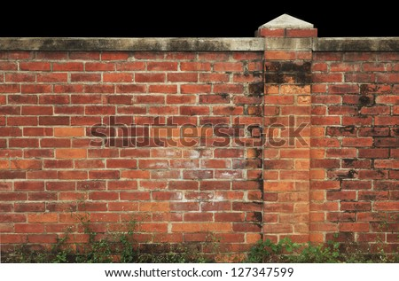 old red brick wall  home fence - stock photo