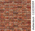 Old Red brick wall seamless background (jpg). Vector version also available - texture pattern for continuous replicate. - stock vector