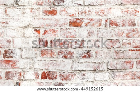 Old red brick wall with damaged white paint layer, closeup background photo texture. Seamless composition - stock photo