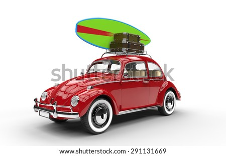 Old red car with surfboard and luggage isolated on a white background