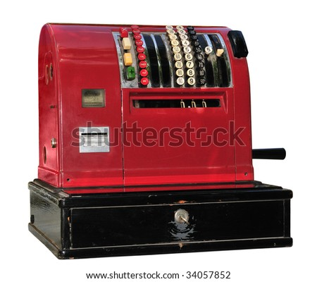 Old red cash register isolated on white.