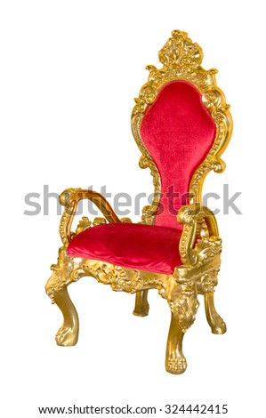 Old red chair on a white background. - stock photo