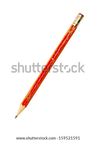 old red coated pencil with eraser, isolated on white.
