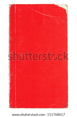 Old red cover book isolated over white with clipping path