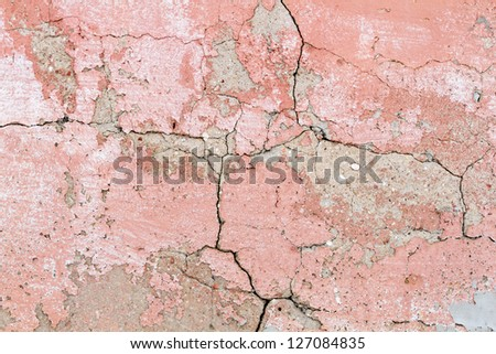 Old red cracked concrete background - stock photo