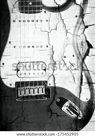Old Red electric guitar  - stock photo