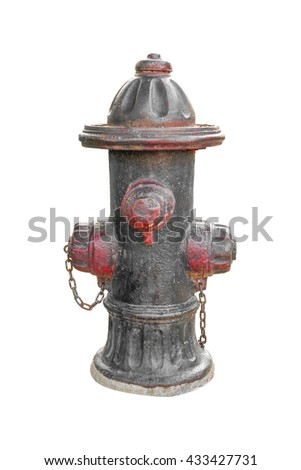 Old red fire hydrant with clipping path isolated on white background.