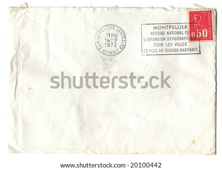 Old red french stamp on envelop - stock photo